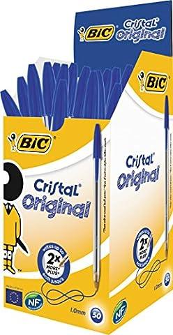 BIC Cristal Original Stylos-Bille - Bleu, Boîte de 50
