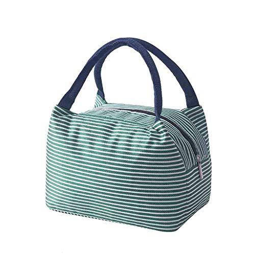Lunchpaket,2019 Gestreiftem Stoff Einfache Lunchbox,Kühltasche Picknicktasche Lunch Tasche Mittagessen Tasche Lunchbag Cooler Bag Isoliertasche für Aufbewahrung (Grün)
