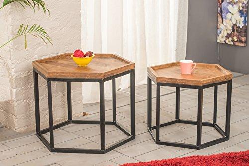 Java hexagonal Nids Table Duo Set, Solid Acacia Wood/Steel Base