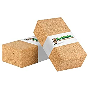 Yoga-Block 2er-SET Kork aus 100% Naturkork | Kork-Klotz für Yoga, ökologisch, made in EU | Fitness & Pilates Hilfsmittel für Anfänger und Fortgeschrittene für Training und Dehnen, zwei Stück
