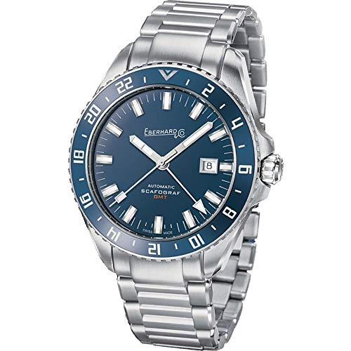 Eberhard & Co Men's Scafograf GMT 43mm Steel Bracelet Automatic Watch 41038.04