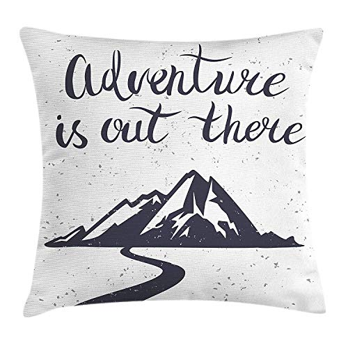 ZTLKFL Landscape Throw Pillow Cushion Cover, Monochrome Mountain Road Exploration Quote Adventure is Out There, Decorative Square Accent Pillow Case, 18 X 18 Inches, Charcoal Grey and White -