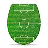 Grinscard - Sedile WC con sistema di abbassamento automatico, motivo: calcio, in Duroplast