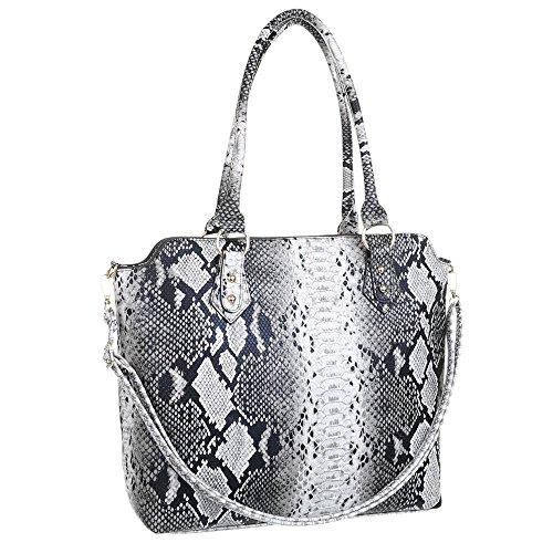 Damen Handtasche Schultertasche Shopper Tragetasche designer Tasche Einkauf Hellgrau Multi