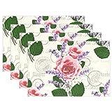 ALAZA Rosa Rosen Lavendel Vintage-Tischset für Esstisch Set mit 4 hitzebeständigem Waschbar Polyester Küchentisch Matten