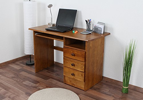 Schreibtisch Kiefer massiv Vollholz Eichefarben 001 - Abmessung 74 x 115 x 55 cm (H x B x T) (Eiche Kiefer Schreibtisch)