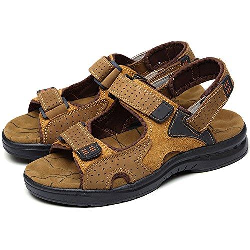 Eastlion Herren Peep-Toe Leder Sommer Sandalen Strand Sandalen Sport Sandalen Schuhe Armeegrün