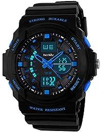 Beswlz Boy de Multi Función retroiluminación Digital cuarzo reloj resistente al agua 50 m al aire libre deporte alarma Cronómetro Relojes de pulsera azul