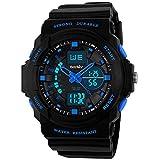 BesWLZ Boy's Multifunktional Digital Hintergrundlicht Quarzuhr Wasserfest 50M Outdoor Sport Alarm Stoppuhr Armbanduhren Blau