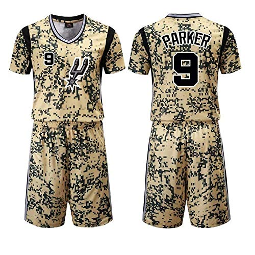 Jordan Nike Anzug (SEJNGF Tony Parker Basketball Uniformen Sportweste # 9 Wettbewerb Team Uniform Training Ball Anzug Komfortable San Antonio Spurs,Camouflage-M)
