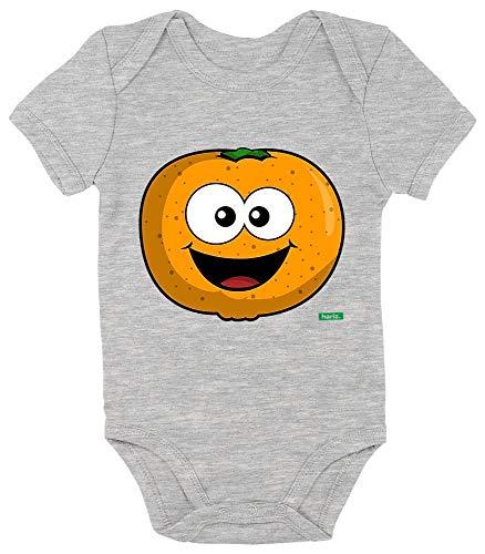 HARIZ Baby Body Kurzarm Mandarine Lachend Früchte Sommer Inkl. Geschenk Karte Bleistift Grau 0-3 (Keine 2 Bleistift Kostüm)