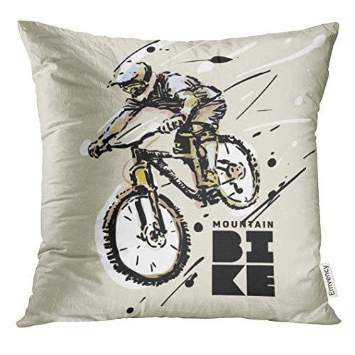 zhouxiashop Kissenbezug Black Rider Downhill Mountainbike Skizze Stil Weiß Grafik Biker Dekorative Kissenbezug Wohnkultur Platz 18x18 Zoll Kissenbezug