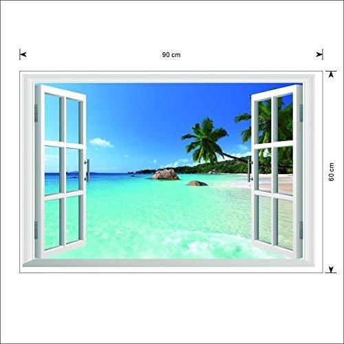 Ecloud Shop Grande Beach extraíble Mar Ventana Vista 3D Scenery Pared etiqueta de la pared