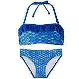 Fin Fun Mermaidens Bikini Set für Mädchen - Druck Squame Sirene, TPB4-AB-BT2-AB-XL, Blau, TPB4-AB-BT2-AB-XL XL