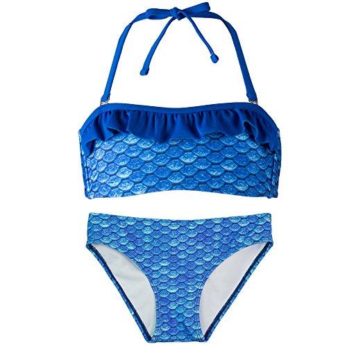 Fin Fun Bandeau Bikini Einstellen, Arctic Blue Oben, Arctic Blue Unterseite, Mädchen X ()