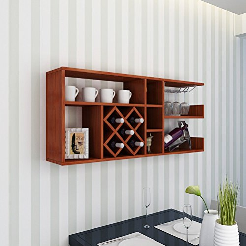 Wine Rack - Weinregal Wand Holz Weinschrank Wandbehang Grid Home Rhombic Weinregal Kelch Regal Teak...