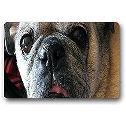 """DOUBEE personalizado animales Pug Felpudo antideslizante de goma Felpudo para interior/al aire libre Entrada esteras 60cm x 40cm, tela, D, 23.6""""x15.7"""""""