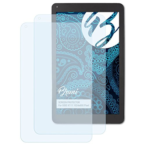 Bruni Schutzfolie für XIDO X111 1024x600 Pixel Folie, glasklare Bildschirmschutzfolie (2X)