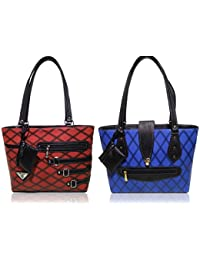 AZED Collections   Combo Of Two Shoulder Handbags   Red & Blue Colour   For Women