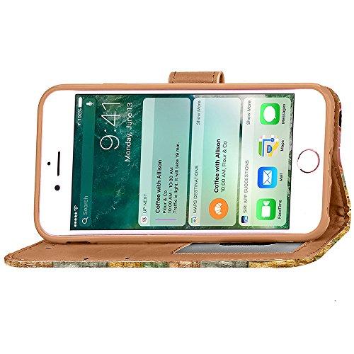 Voguecase® Pour Apple iPhone 7 4,7 Coque, Étui en cuir synthétique chic avec fonction support pratique pour iPhone 7 4,7 (Cowboy rivets boucle croix-Bleu)de Gratuit stylet l'écran aléatoire universell Abstract rainbow-Vert et Or