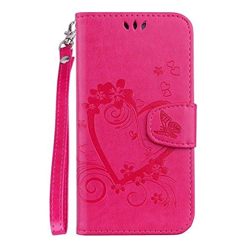 kompatibel mit für Galaxy J1 2016 Hülle,Galaxy J1 2016 Flip Hülle,Schmetterling Liebe Herz Muster Handyhülle PU Leder Case Wallet Tasche Brieftasche Schutzhülle Ledertasche im Bookstyle - Hot Pink Hot Pink Leder