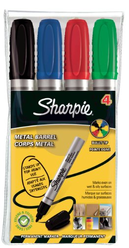 sharpie-metal-barrel-permanent-marker-small-bullet-tip-assorted-colours-pack-of-4