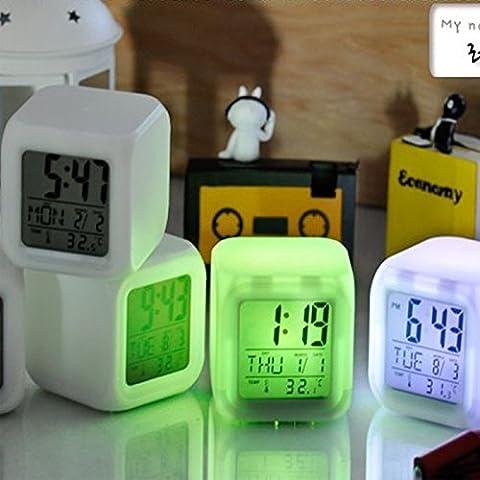 Bluelover 7 Couleurs Changent Réveil Lumière Led Digital Lcd Horloge Thermomètre Calendrier Date Heure
