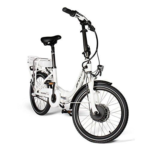 E-Bike Faltrad in weiß | Unisex | Elektrofahrrad mit 20...