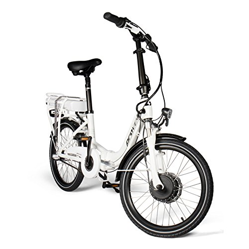 e bike mit mittelmotor und ruecktrittbremse E-Bike Faltrad in weiß | Unisex | Elektrofahrrad mit 20 Zoll (50,8 cm) Reifengröße | Fahrrad mit 3 Gang Nabenschaltung | Stadtrad | by Provelo