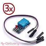 AZDelivery ⭐⭐⭐⭐⭐ 3 x DHT11 Breakout Modul mit Platine und Kabel Temperatursensor und Luftfeuchtigkeitssensor für Arduino