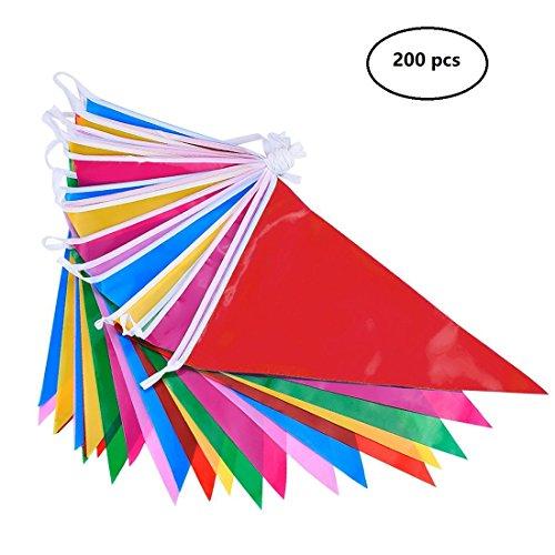 DoGeek Wimpelkette Fahnen Girlande Schöne Wimpel mit 200 Stück Farbenfroh Wimpeln Ideal für Geburtstagsparty, Feiern (38M) 2 Pcs