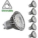 CY LED 3 W, MR16 GU10 Bombillas LED, Bombillas equivalentes a halógenas de 35 W, 300 lm, luz blanca cálida, intensidad regulable, 3000 K, ángulo de haz de 45 grados, para iluminación empotrada o en barra, bombillas LED, pack de 6 unidades