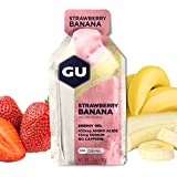 GU Energy Gel, Strawberry Banana (Erdbeer Banane), Box mit 24 x 32 g