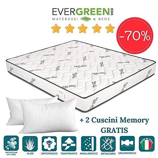 Cuscino Aloe Vera Opinioni.Evergreenweb Materasso In Waterfoam Alto 20 Cm Rivestimento Oli
