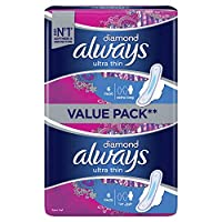 Always Diamond Ultra Thin, Extra Long sanitary pads, 6 count