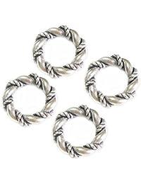 Queenberry Lot de 4 forets Antique-Bague-Argent 925/1000–Perles intercalaire Rond pour Bracelets de type Pandora et Troll