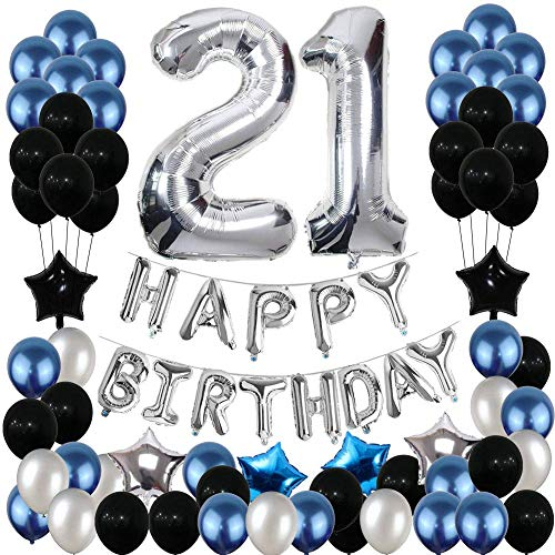 Yoart 21. Geburtstag Dekorationen, 21. Geburtstag Party Dekoration Luftballons Partyzubehör Blau und Silber Schwarz Folienstern Luftballons für Frauen Männer 80st