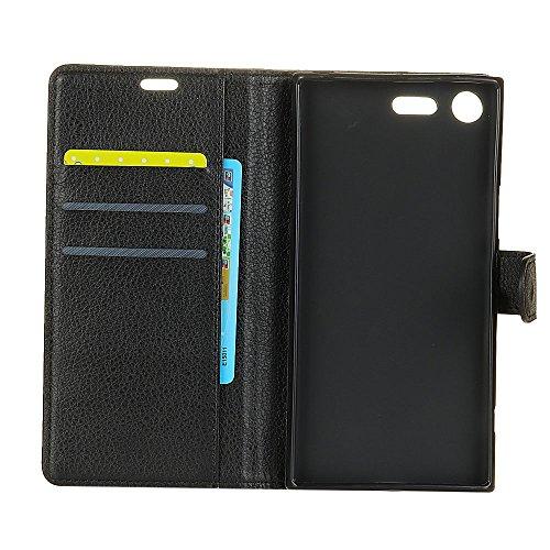 Klassische Litchi Texture Premium Leder Tasche Bookstyle Folio Stand Case mit Geldbörse Beutel Funktion Card Slots für Sony Xperia XZ1 ( Color : Purple ) Black