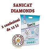 Sanicat Lettiera al silicio Gatto Diamonds senza profumo lt.15 x 2 pz.