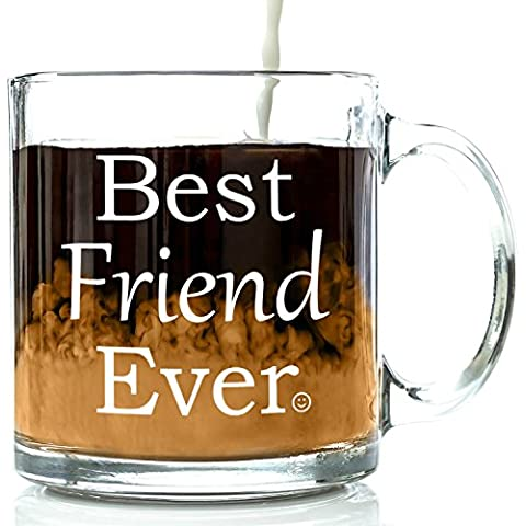 Best Friend Ever Glass Coffee Mug 13 oz - Unique Christmas Present Idea For Your Best Friend - Perfect Long Distance Friendship, Holiday or Birthday Gift For Men & Women, Him or Her by Got Me Tipsy - Happy Elephant Tea