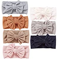 7pcs Baby Girl Headbands and Bows CLASSIC Knot Nylon Headwrap Super Soft Stretchy Nylon Hair bands for Newborn Toddler, Children (MZ118)