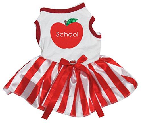 Apple Top Shirt (Petitebelle Puppy Hund Kleidung Schule Apple Top Stripe Dress)