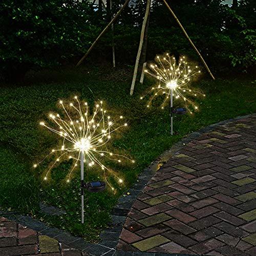 2 x Solarleuchten für Garden Warmweiß LED Feuerwerk lichterkette Außen Stecker Solarleuchten mit Funkeln und Dauerlicht 2 Beleuchtungsmodi für Garten, Balkon und Terrasse