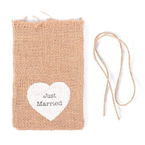 Jutesäckchen für Adventskalender, Jutebeutel, Stoffbeutel, Natur Säckchen, Geschenksäckchen, Sack, Beutel Just Married