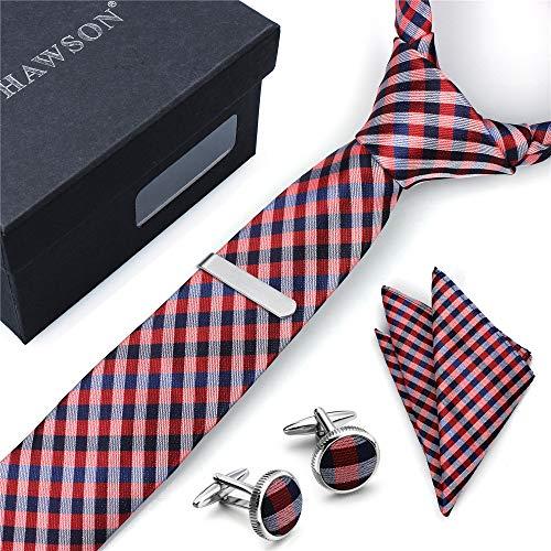 Herren Krawatte mit Gingham-Muster, Einstecktuch mit Manschettenknöpfen und Krawattenklammer in Geschenkbox - Bestes Geschenk für Hochzeit und Geschäftsparty - Rot - 6.4 cm-Breit -