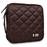 BUBM Portable Water resistant 32 Disc Storage Bag for CD DVD VCD DJ Holder Wallet Case - Coffee