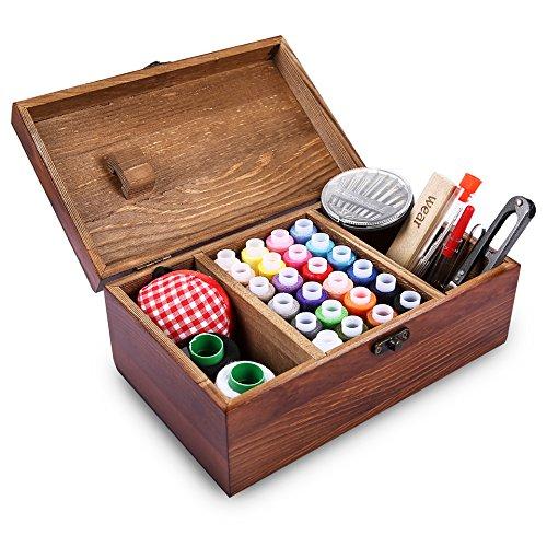 Caja de costura de madera retrospectiva que incluye los accesorios del kit de costura, Muzee Cesta retra del organizador de costura elegante del estilo retro de Wozee