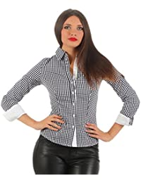 5823 Fashion4Young Taillierte Damen Langarm Karo Bluse Damenbluse Hemdbluse Stretch Bluse kariert