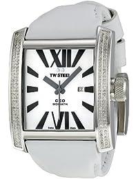 TW Steel CE3015W - Reloj analógico de cuarzo unisex con correa de piel, color blanco