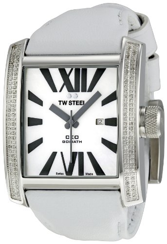 TW Steel Men's CE3015 CEO Goliath White Leather Strap Watch image